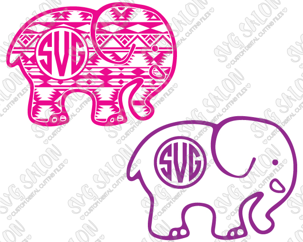 Baby elephant monogram clipart graphic black and white library Aztec Blanket Tribal Elephant Monogram Custom DIY Cutting File Set in SVG,  EPS, DXF, JPEG, and PNG Format graphic black and white library