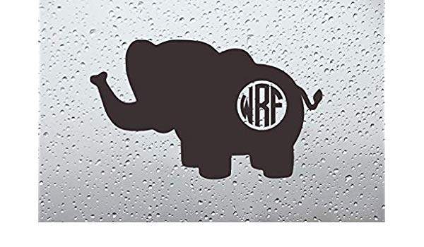 Baby elephant monogram clipart svg freeuse library Amazon.com: Stebears Decals Baby Elephant Monogram Car Decal/Sticker ... svg freeuse library