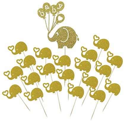 Baby elephant party clipart picture royalty free Shxstore Gold Baby Elephant Cake Topper Small Elephant Cupcake Picks For  Baby Shower Birthday Theme Party Decorations Supplies, 21 Counts picture royalty free