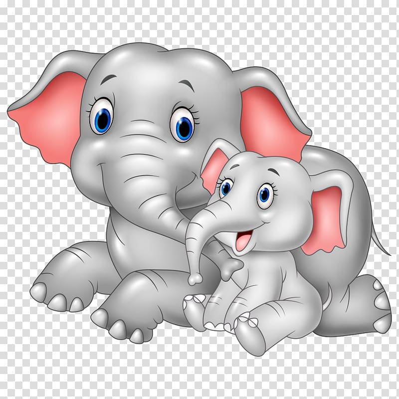 Two elephants illustration, Infant Cartoon Mother Illustration, Gray ... banner free