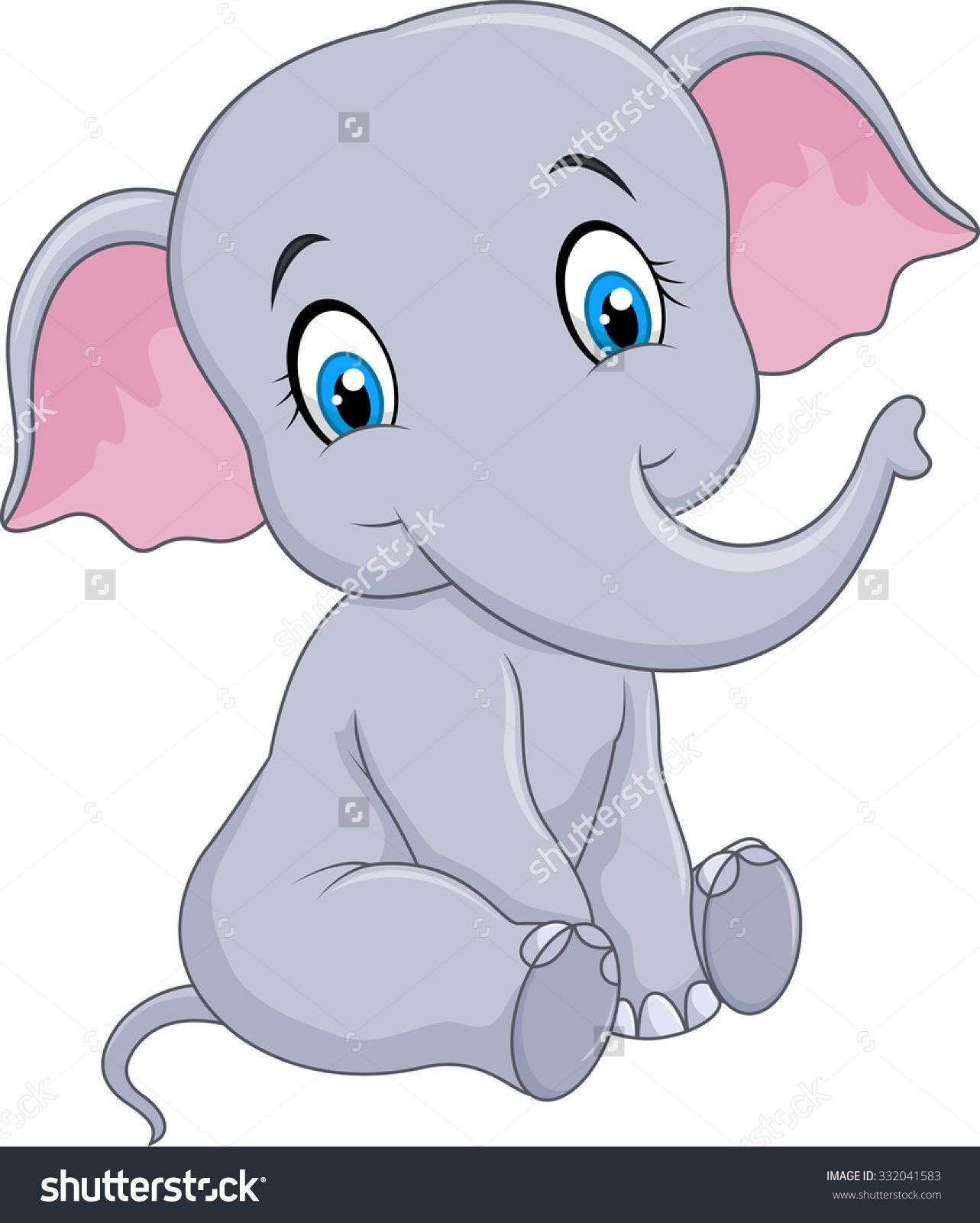 Cartoon Funny Baby Elephant Sitting Isolated On White Background ... clip art library library