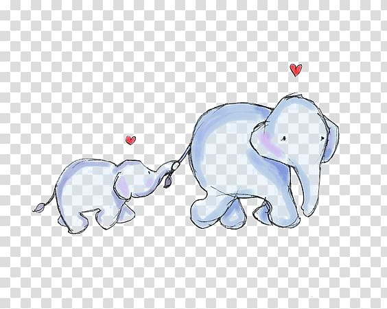 Watercolormomma and baby elephant clipart clip transparent download Elephant Mother Infant , Cartoon baby elephant, two blue elephant ... clip transparent download