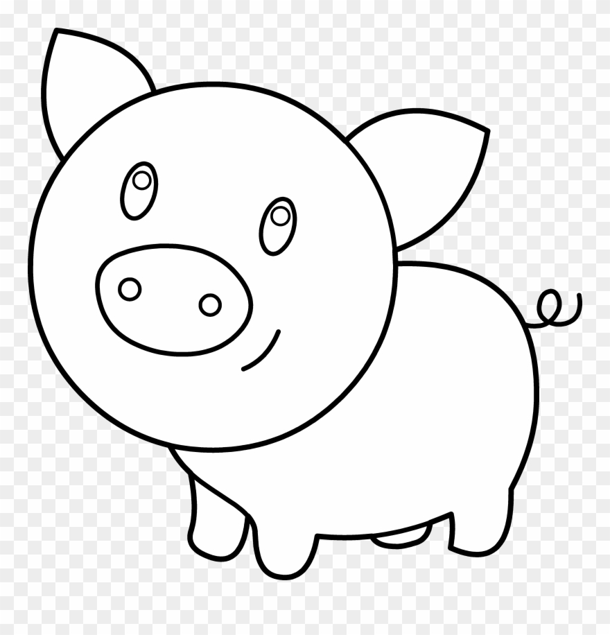 Baby farm animals clipart black and white pig clipart black and white Baby Pig Coloring Printable - Pig Clipart Black And White - Png ... clipart black and white