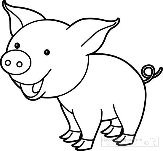 Baby farm animals clipart black and white pig clipart library download Pin by Nelda Mullins on Clip Art | Cute pigs, Pig art, Black, white clipart library download