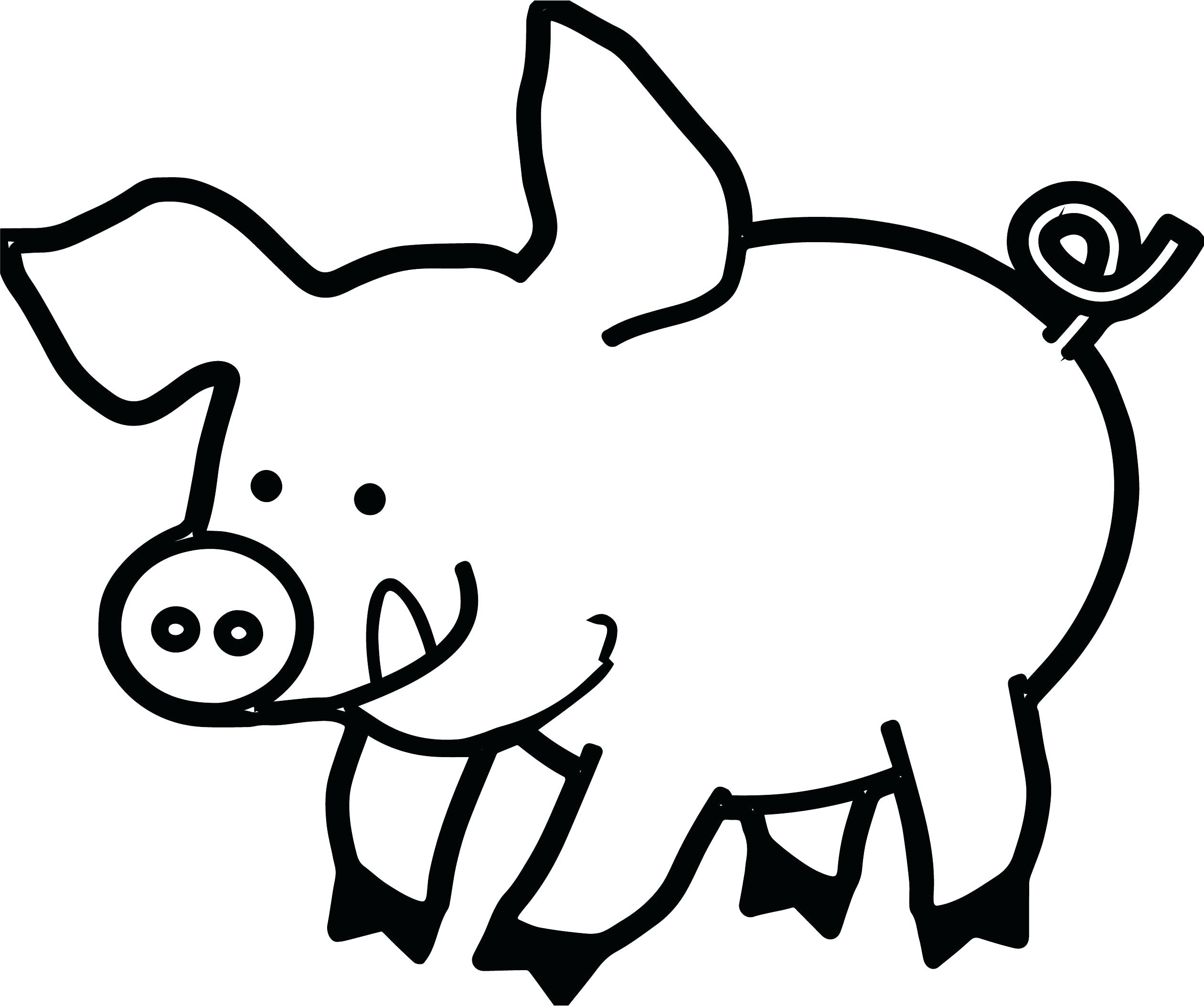 Black and white clipart pig