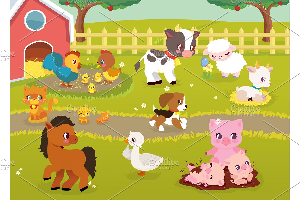 Baby farm clipart graphic black and white stock Baby Farm Animals PNG Clipart ~ Illustrations ~ Creative Market graphic black and white stock