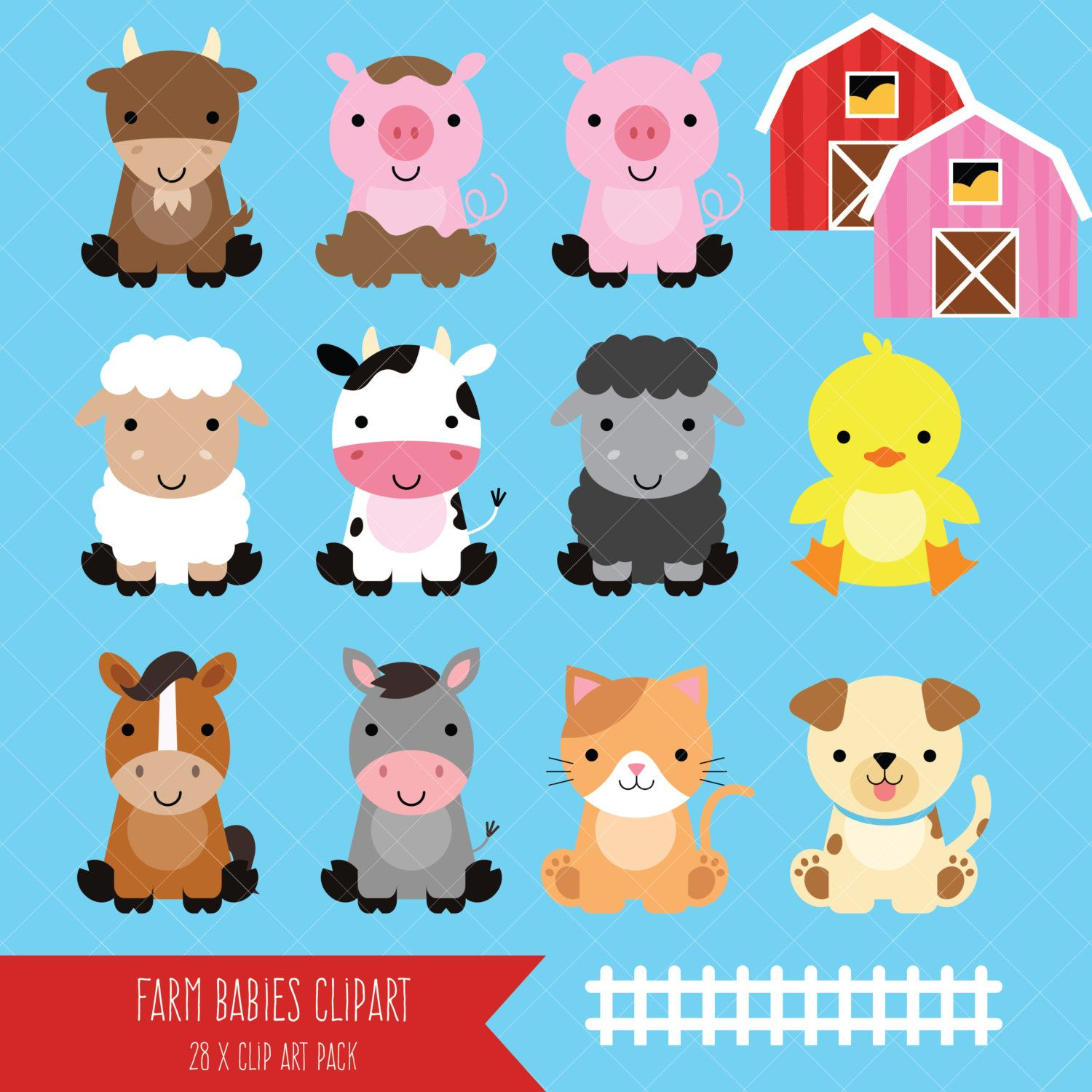 Baby farm clipart graphic library library Farm Baby Animals Clipart / Cute Animal Clipart / Barnyard Animals ... graphic library library