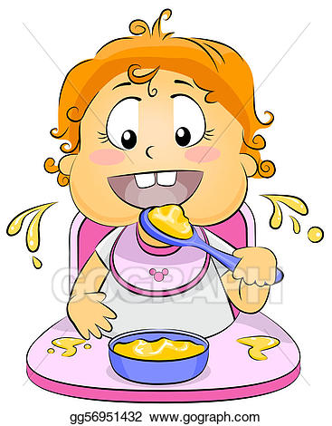 Baby favorite food clipart library Stock Illustration - Baby eating. Clipart gg56951432 - GoGraph library