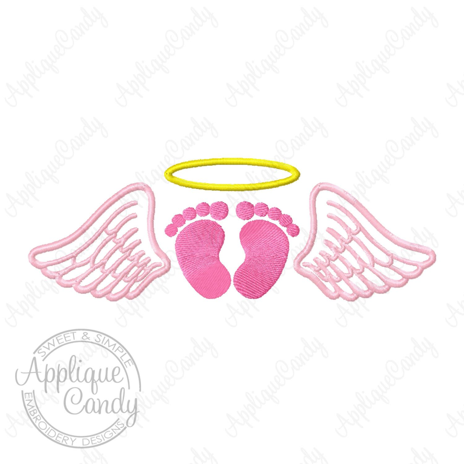 Angel Wing Footprints Halo Fill Machine Embroidery Design 4x4 5x5 ... clip art free library