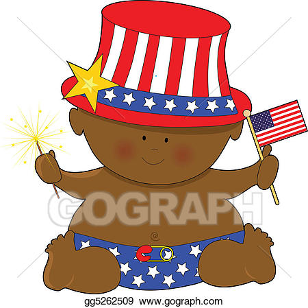 Baby fourth of july clipart vector free stock Stock Illustration - Baby fourth of july black. Clipart Drawing ... vector free stock