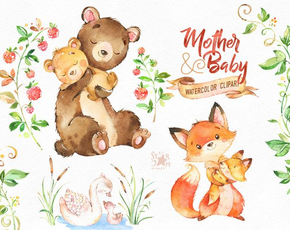 Watercolor mothers day wreath clipart