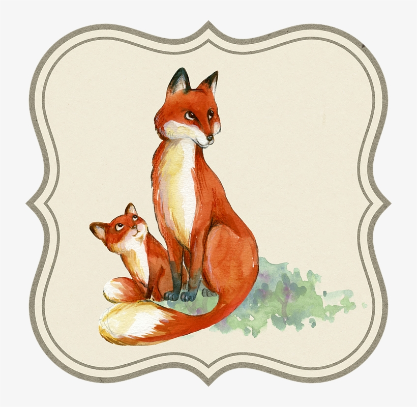 Fox Clipart Watercolor - Mom And Baby Fox Drawing PNG Image ... png royalty free download