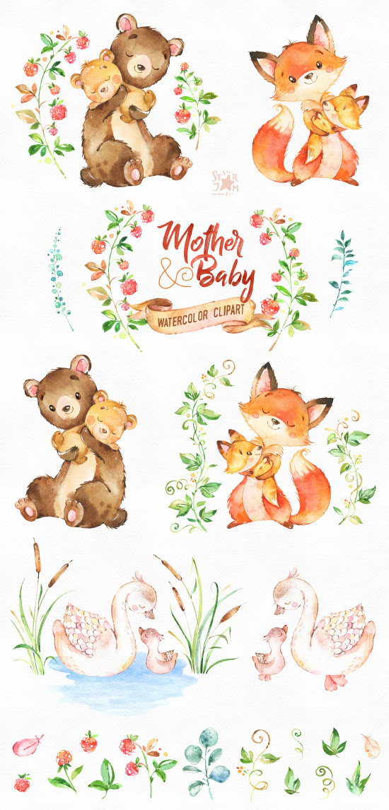 Mother & Baby. Watercolor animals clipart, fox, bear, swan, greeting ... transparent library