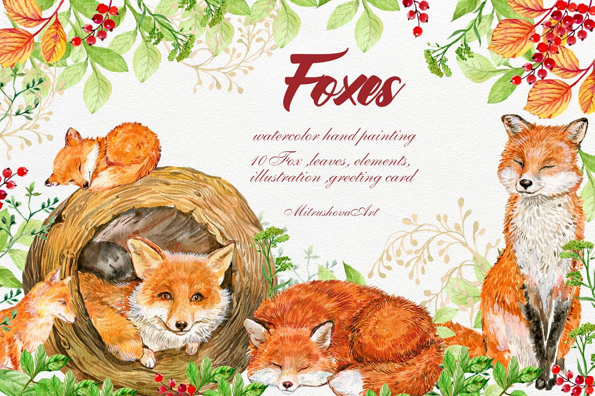 Foxes.Animals Clip art .Watercolor painting. baby Fox, picture black and white