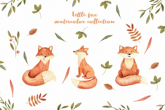 Autumn watercolor clipart with fox Cute baby fox Autumn Leaves ... jpg royalty free library