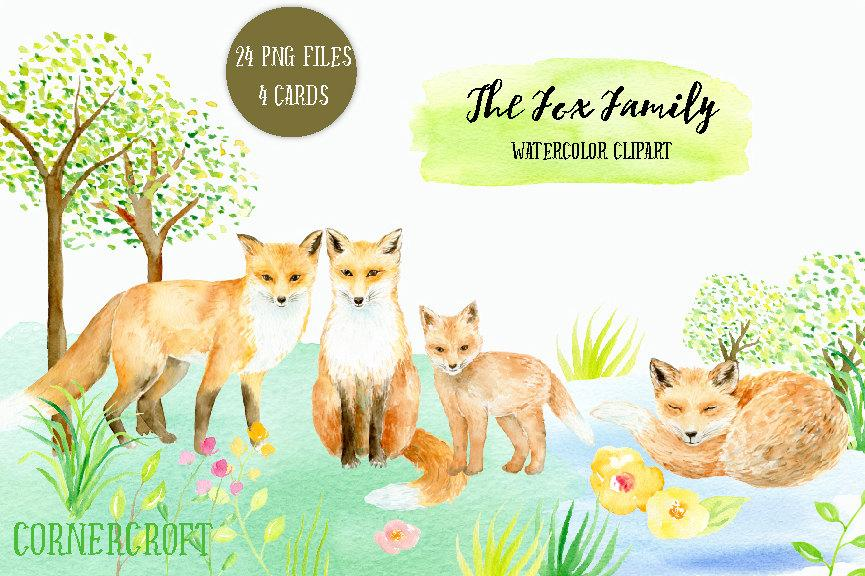 Watercolor fox family printable, animal clipart, baby fox, fox ... vector black and white download