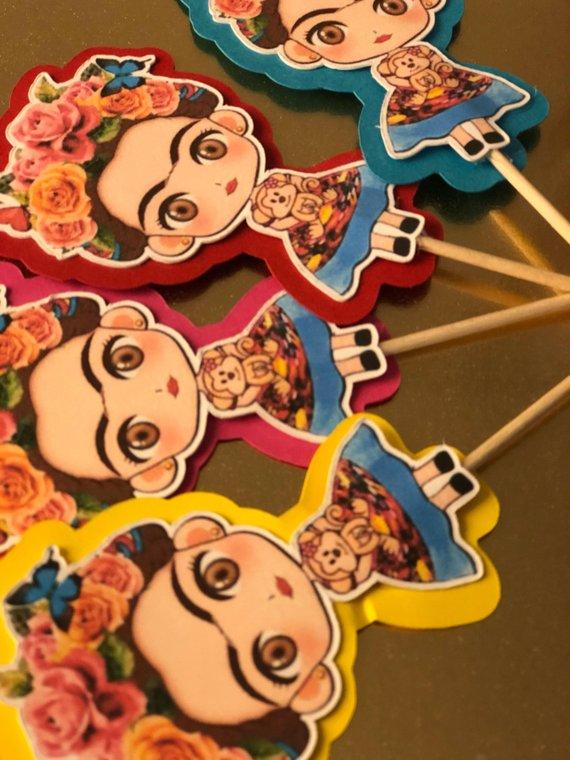 Baby frida kahlo clipart banner transparent download Frida kahlo cupcake toppers/ frida kahlo | Products in 2019 | Frida ... banner transparent download