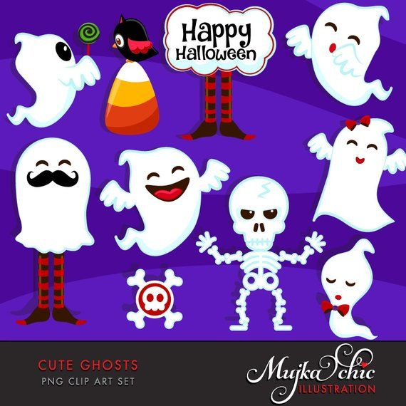 Baby ghost clipart banner royalty free stock Halloween Cute Ghosts Clipart. Halloween graphics, ghosts, little ... banner royalty free stock