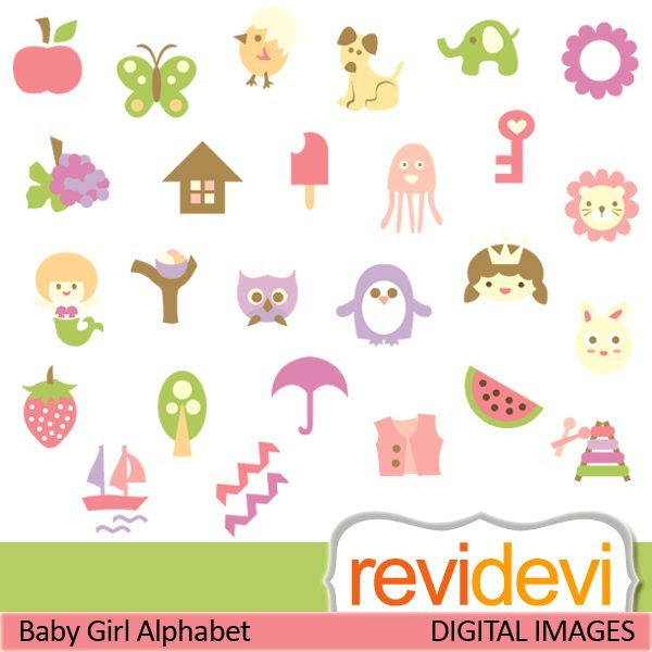 Baby girl alphabet clipart clip art black and white stock Baby Girl Alphabet | Mygrafico clip art black and white stock