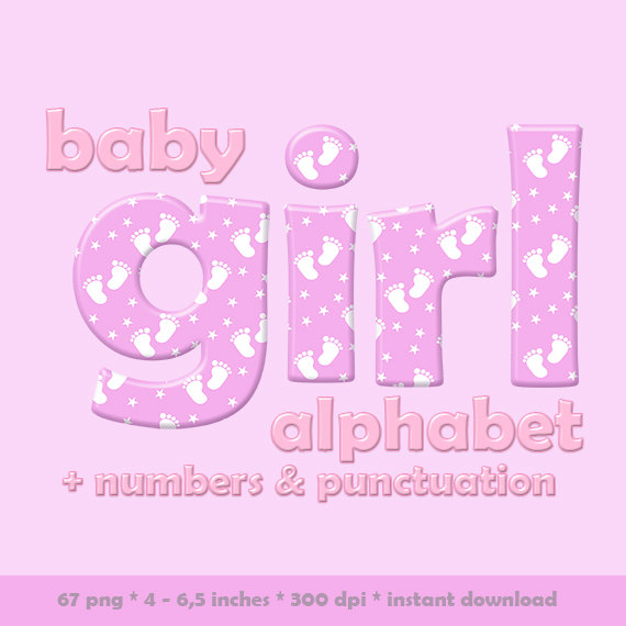 Baby girl alphabet clipart royalty free download Pink baby girl alphabet clipart baby feet pattern children royalty free download