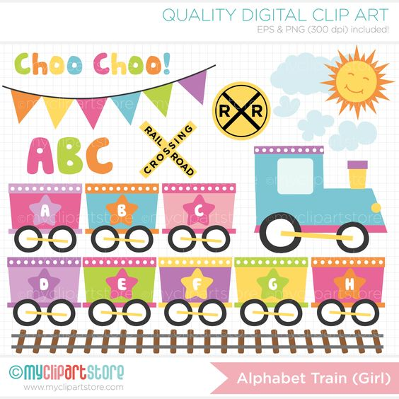 Baby girl alphabet clipart clipart free library Baby Girl Choo Choo Train ABC / Alphabet Train Clipart | Toys ... clipart free library
