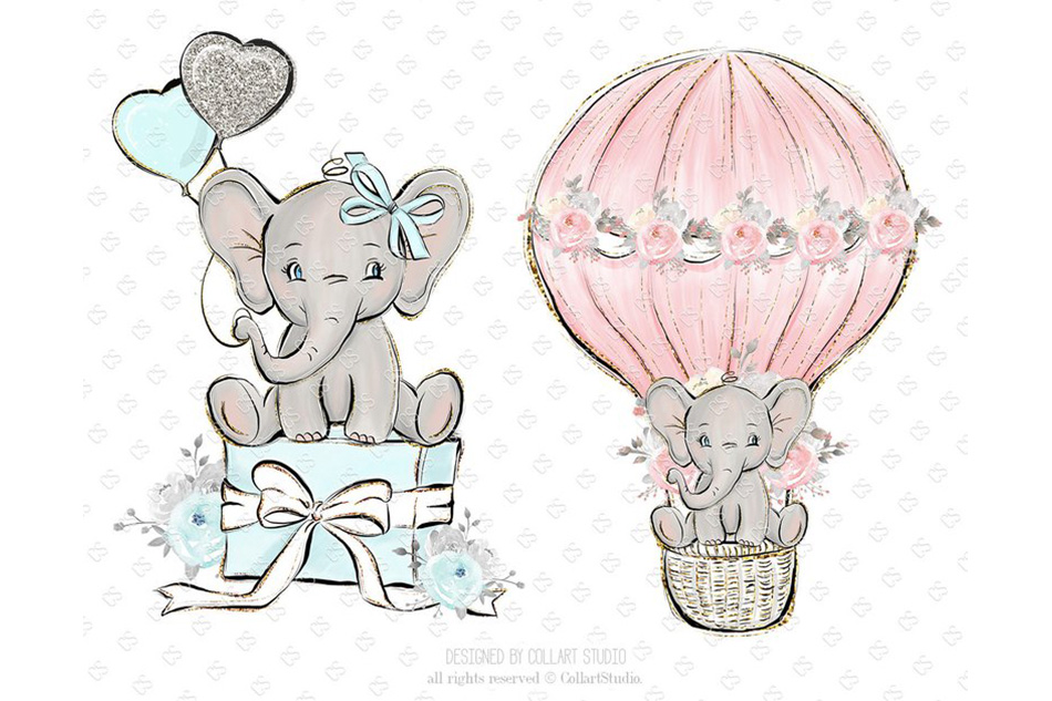 Baby girl birthday clipart vector black and white library Baby Elephant clipart, Baby boy baby girl clipart, birthday vector black and white library
