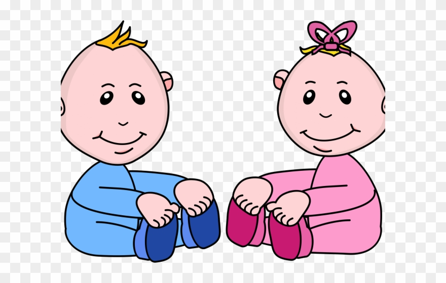 Baby girl and boy clipart svg black and white library Baby Girl Clipart Boy - Pink And Blue Babies Clipart - Png Download ... svg black and white library