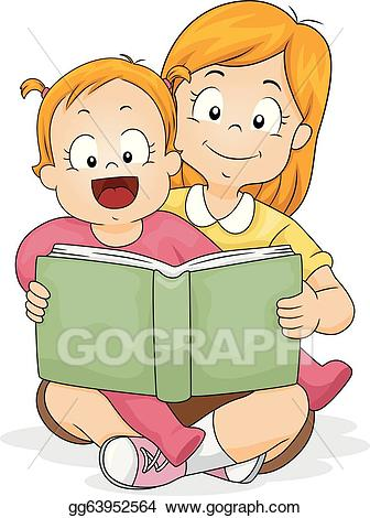 Baby girl and sister clipart picture free stock Vector Illustration - Baby girl reading a book with sister. Stock ... picture free stock