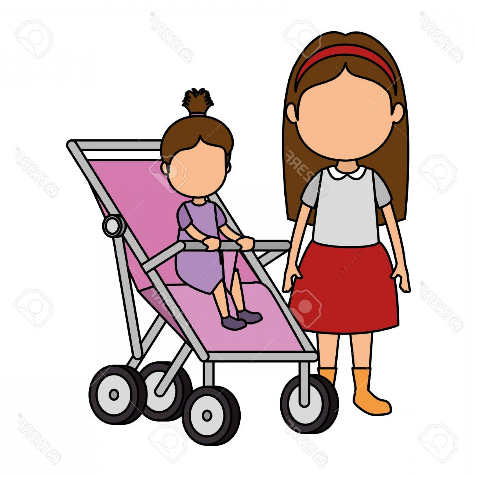 Baby girl and sister clipart png transparent stock Photostock Illustration Little Girl Baby In Cart With Sister Vector ... png transparent stock