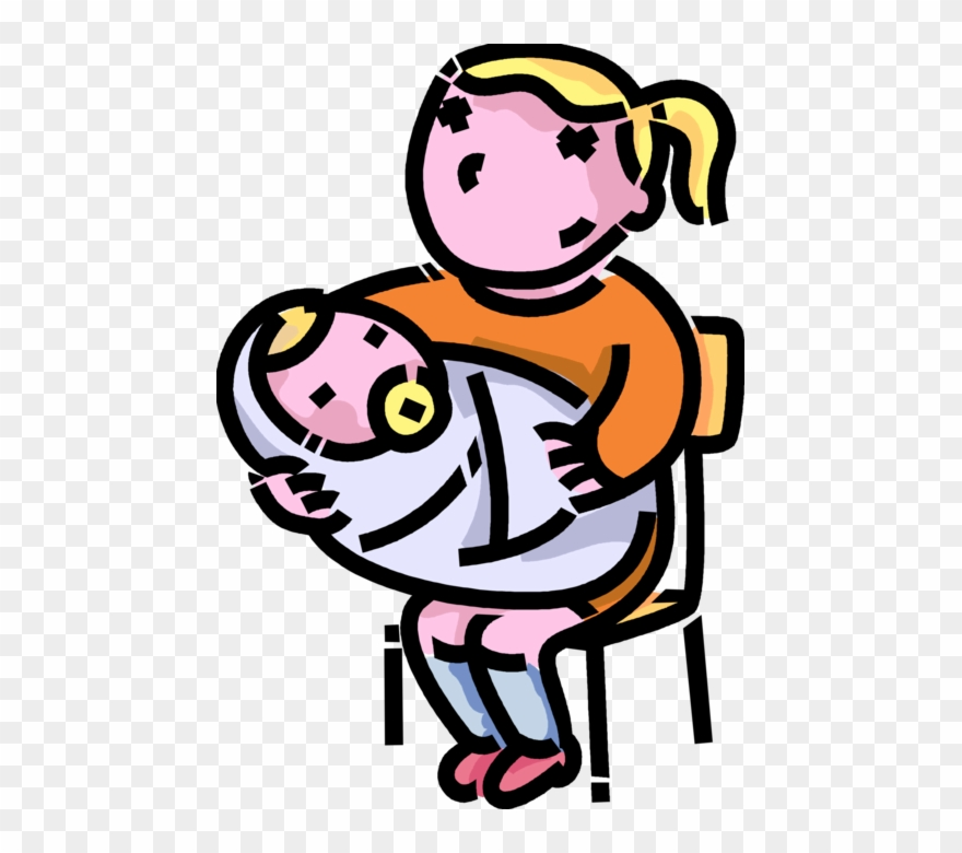 Baby girl and sister clipart clip transparent Sister With Newborn Vector - Girl Holding Baby Cartoon Clipart ... clip transparent