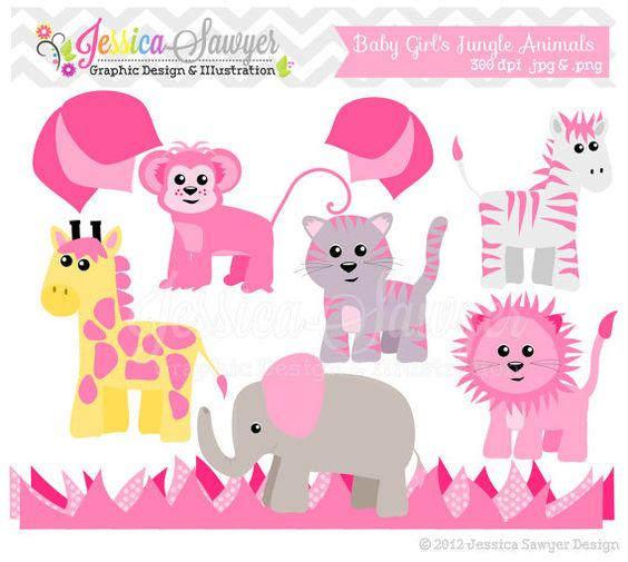 Baby girl animals clipart svg freeuse INSTANT DOWNLOAD, girls Jungle Animal Clipart and Vectors for ... svg freeuse