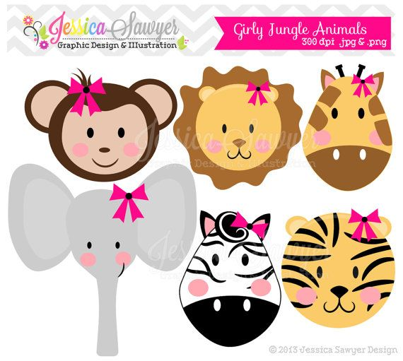 Baby girl animals clipart black and white library Jungle Baby Shower Clipart - Clipart Kid black and white library