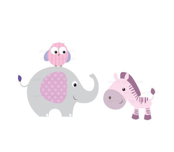 Baby girl animals clipart banner free Baby Animals Clipart DIY Baby Shower Pastel Cute Elephant Giraffe ... banner free
