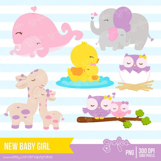 Baby girl animals clipart picture free NEW BABY GIRL Digital Clipart Imagenes Animales Bebes por grafos ... picture free