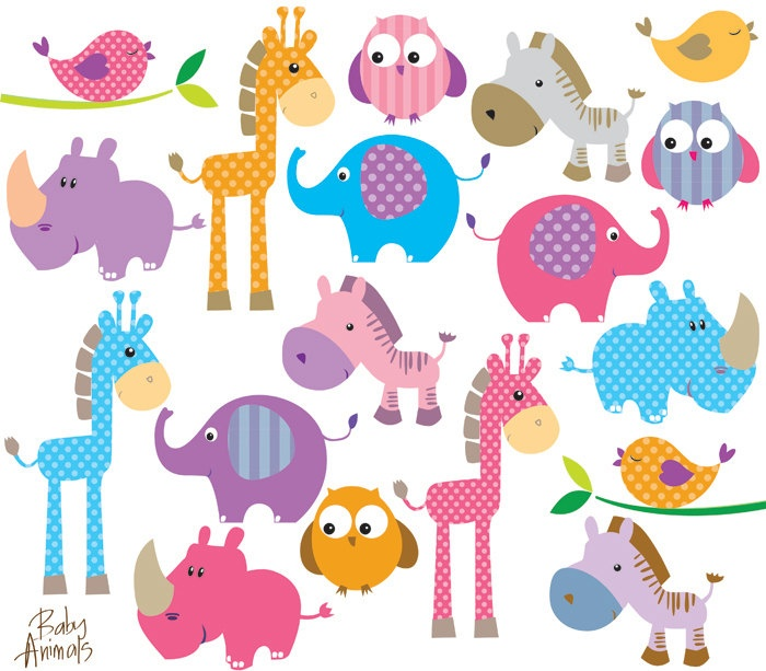 Baby girl animals clipart vector Baby Jungle Animals Boy Clipart - Clipart Kid vector