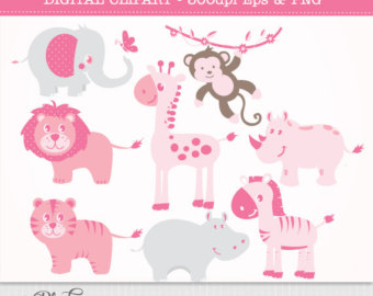 Baby girl animals clipart svg library stock Monkey girl clipart | Etsy svg library stock