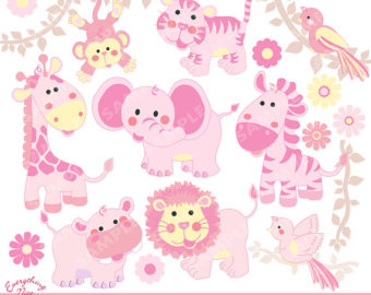 Baby girl animals clipart transparent Girl animals clipart – Etsy transparent