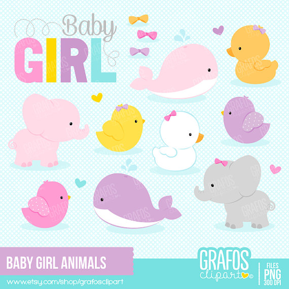 Baby girl animals clipart clip art stock BABY GIRL ANIMALS - Digital Clipart Set, Animals Clipart, Zoo ... clip art stock