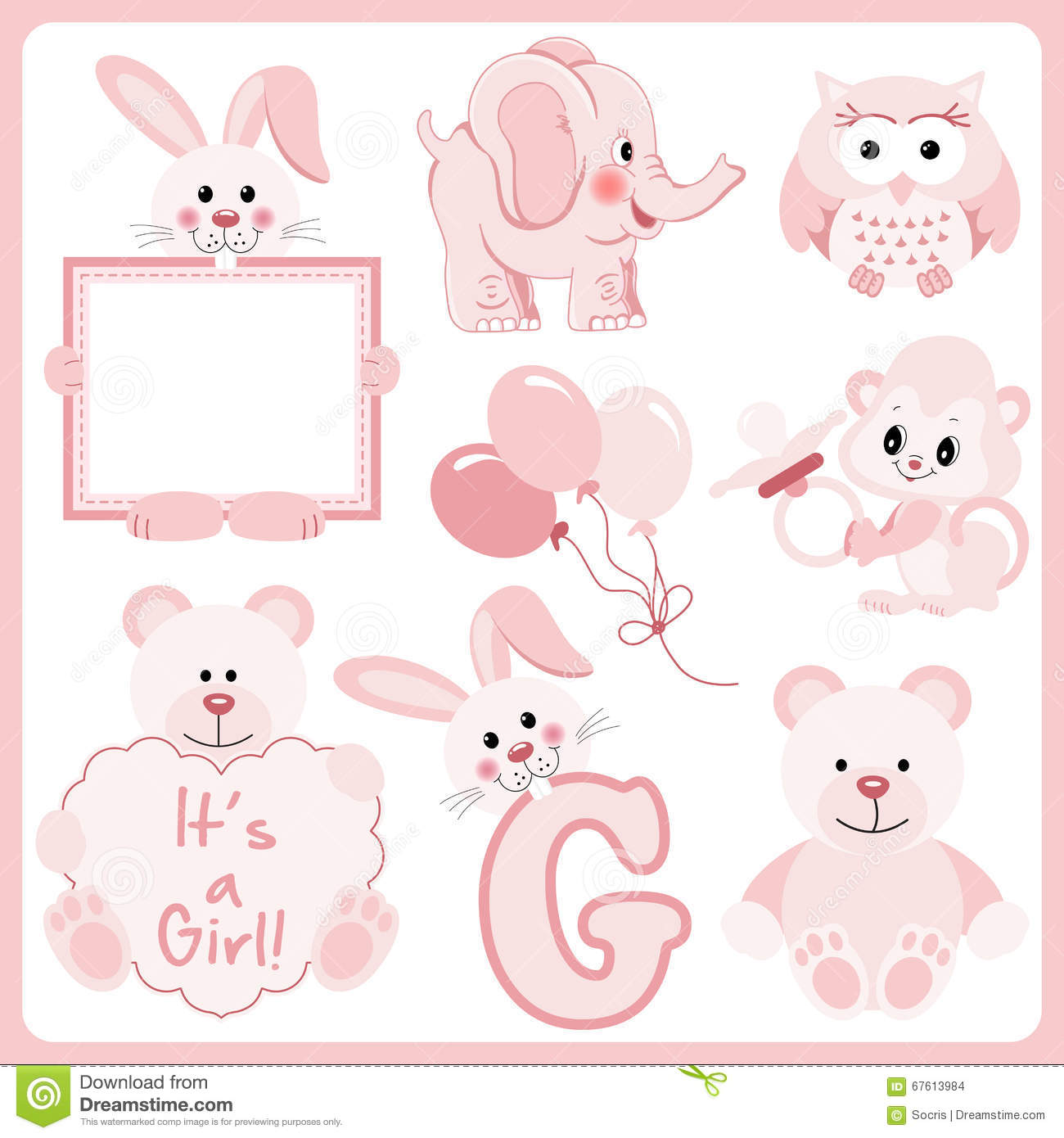 Baby girl animals clipart image black and white stock Baby Girl Pink Animals Digital Clipart Stock Vector - Image: 67613984 image black and white stock