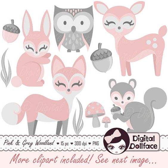 Baby girl animals clipart jpg freeuse download Baby Woodland Animal Clipart, Girl, Baby Clip Art, Pink Bunny ... jpg freeuse download