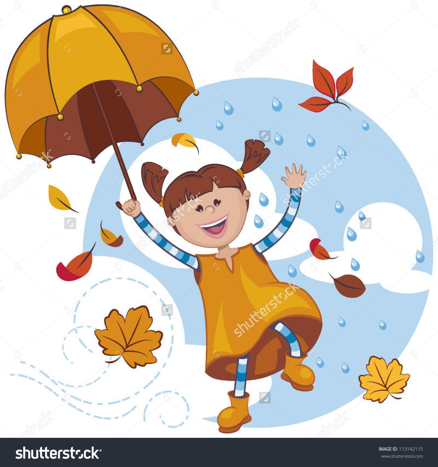 Illustration child umbrella playing. Baby girl autumn clipart