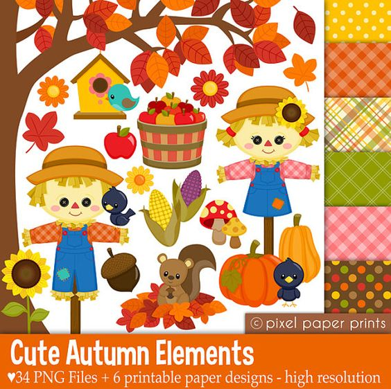 Baby girl autumn clipart svg free Cute Autumn Elements - Fall Clipart - Clip Art and Digital paper ... svg free