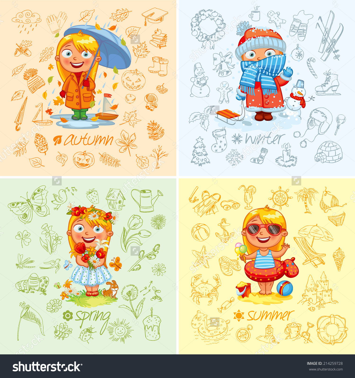 Baby girl autumn clipart banner free stock Baby Girl Four Seasons Freehand Drawing Stock Vector 214259728 ... banner free stock