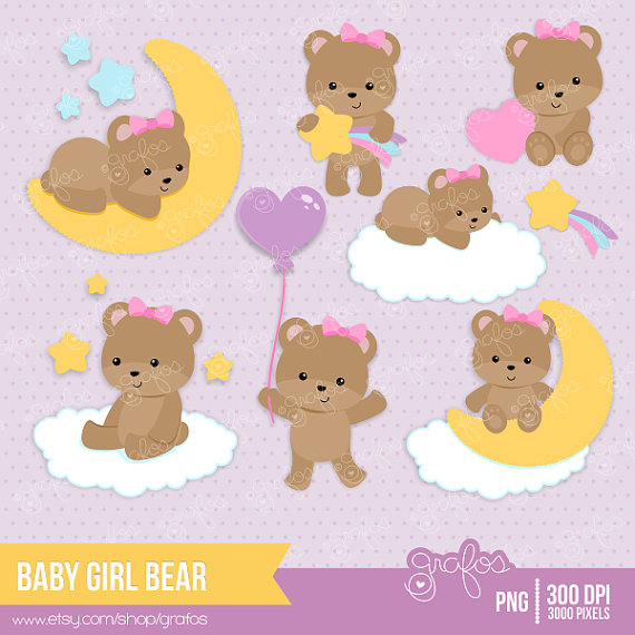 Baby girl baptism clipart image library CUTE BEAR GIRL Digital Clipart, Baby Bear Clipart, Teddy Bear Girl ... image library