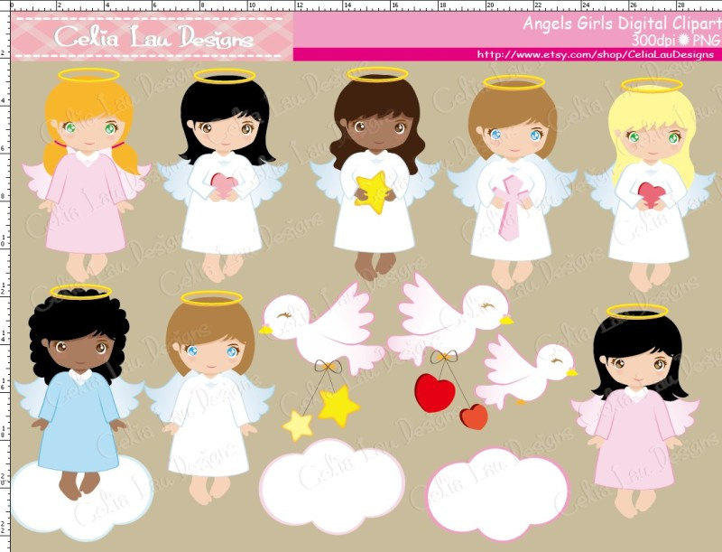 Clipartfox cute angel . Baby girl baptism clipart