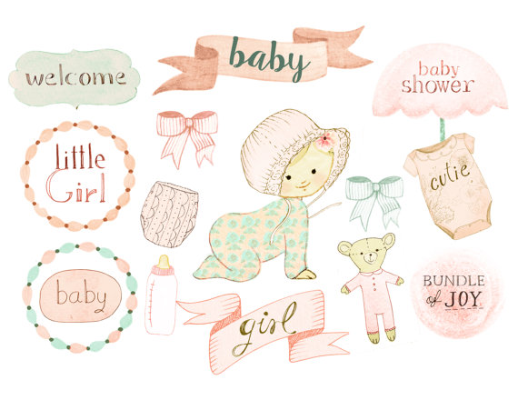 Baby girl birth announcement clipart vector freeuse stock Baby girl clipart, baby shower clipart, birth announcement, baby ... vector freeuse stock