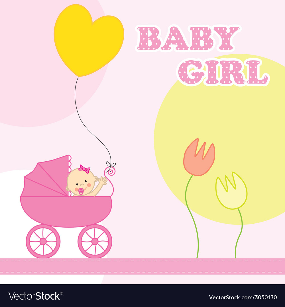 Baby girl birthday clipart vector free download Baby girl birthday card vector image on VectorStock vector free download
