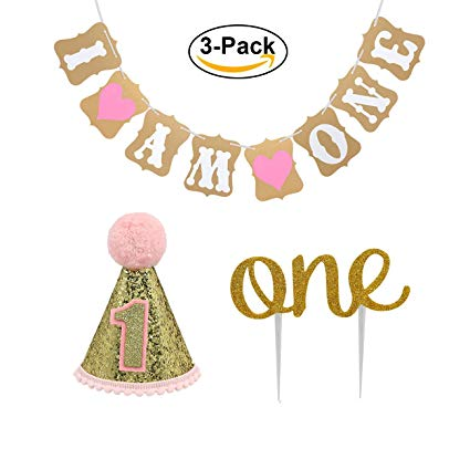 """Baby girl birthday clipart clipart transparent library Baby First Birthday Cake Topper Decoration & 1st Baby Girl Birthday Party  Hat & Decorations Banner of """"I Am One""""- For Baby Girl clipart transparent library"""