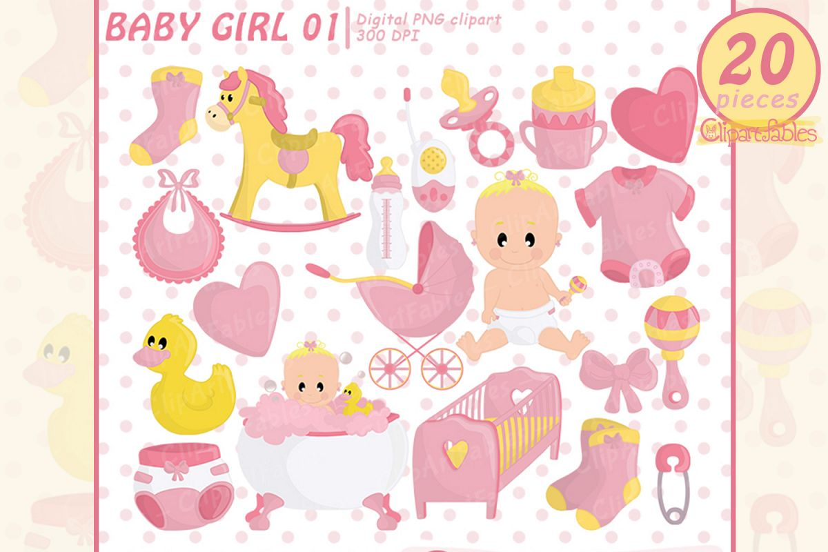 Baby girl birthday clipart png Cute baby girl shower party clipart, pink girl birthday art png