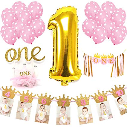 Baby girl birthday clipart graphic freeuse library Bright Tricks Baby Girl First Birthday Decorations Set | Balloons, Banners,  Cake Accessories & More! graphic freeuse library